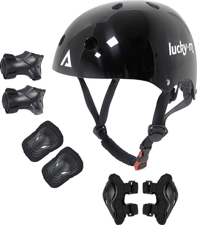 Beschermende kleding voor kinderen Zwart Jongens Meisjes Verstelbare maat helm met kniebeschermers, elleboogbeschermers, polsbeschermers voor skateboard, fietsen, hoverboard, scooter