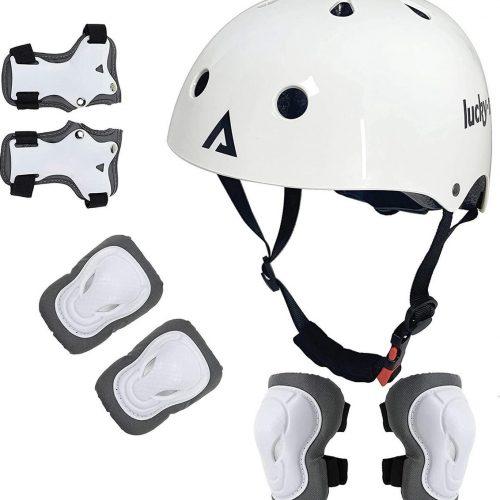 Beschermende set voor kinderen Jongens Meisjes Verstelbare maat helm 48cm-54cm met kniebeschermers, elleboogbeschermers, polsbeschermers voor skateboard, fietsen, hoverboard, scooter