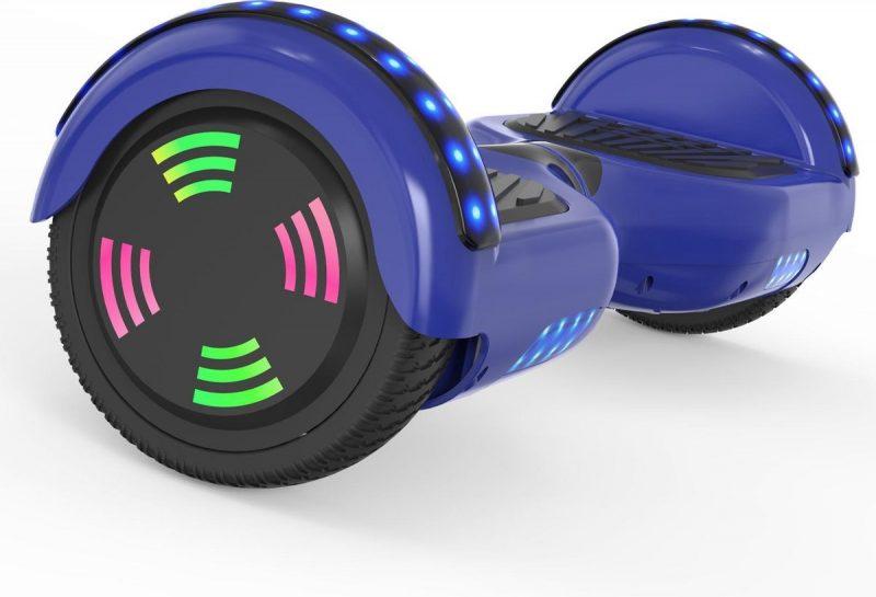 Evercross 6.5 inch Hoverboard met Flits Wielen | Elektrische Zelfbalancerende Scooter | Bluetooth Speaker | Met Afstandsbediening | Inclusief Transporttas | Blauw