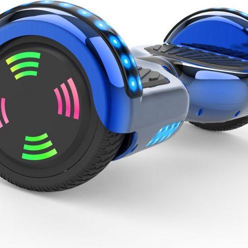Evercross 6.5 inch Hoverboard met Flits Wielen | Elektrische Zelfbalancerende Scooter | Bluetooth Speaker | Met Afstandsbediening | Inclusief Transporttas | Blauw Chroom