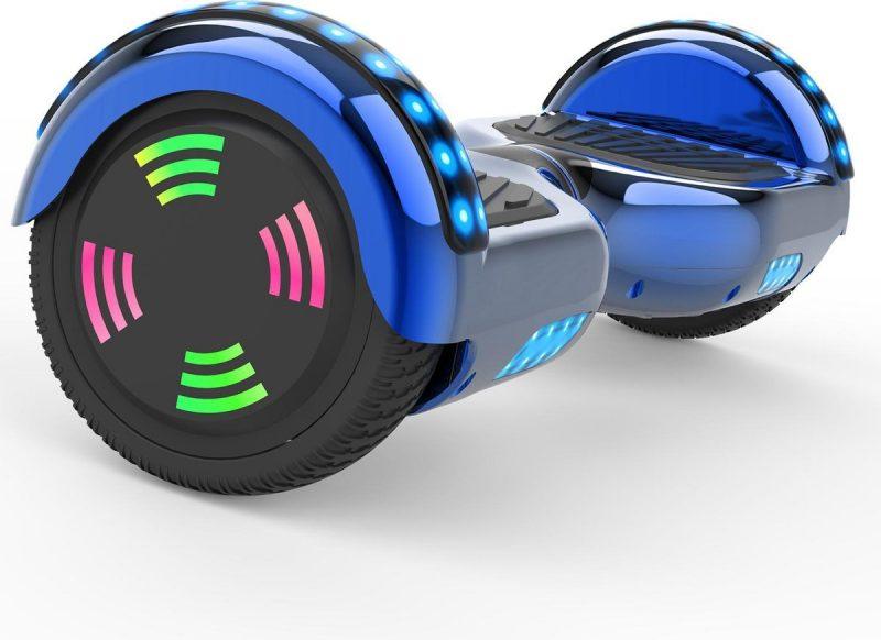 Evercross 6.5 inch Hoverboard met Flits Wielen   Elektrische Zelfbalancerende Scooter   Bluetooth Speaker   Met Afstandsbediening   Inclusief Transporttas   Blauw Chroom