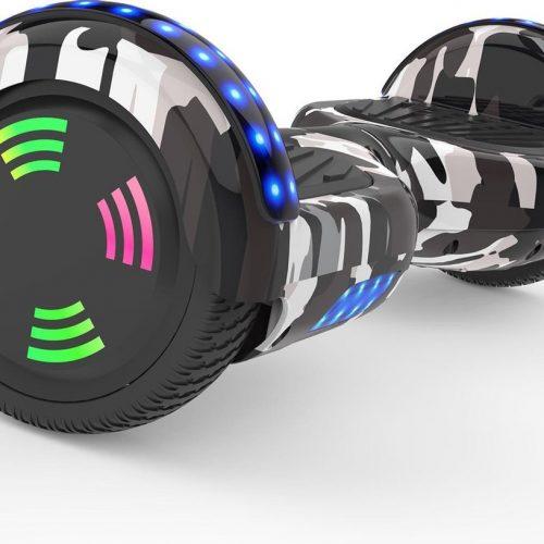 Evercross 6.5 inch Hoverboard met Flits Wielen | Elektrische Zelfbalancerende Scooter | Bluetooth Speaker | Met Afstandsbediening | Inclusief Transporttas | Camouflage Groen