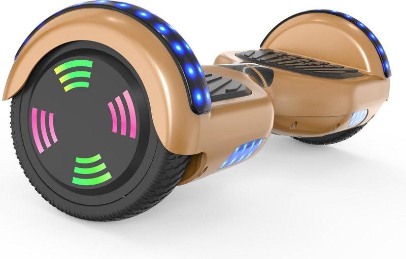 Evercross 6.5 inch Hoverboard met Flits Wielen   Elektrische Zelfbalancerende Scooter   Bluetooth Speaker   Met Afstandsbediening   Inclusief Transporttas   Goud