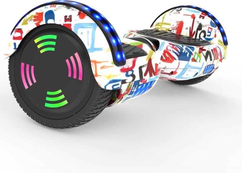Evercross 6.5 inch Hoverboard met Flits Wielen | Elektrische Zelfbalancerende Scooter | Bluetooth Speaker | Met Afstandsbediening | Inclusief Transporttas | Graffiti