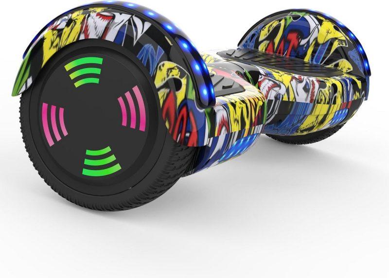 Evercross 6.5 inch Hoverboard met Flits Wielen | Elektrische Zelfbalancerende Scooter | Bluetooth Speaker | Met Afstandsbediening | Inclusief Transporttas | Hiphop