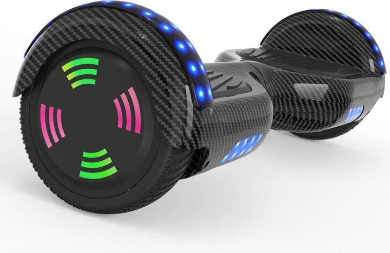 Evercross 6.5 inch Hoverboard met Flits Wielen | Elektrische Zelfbalancerende Scooter | Bluetooth Speaker | Met Afstandsbediening | Inclusief Transporttas | Koolzwart
