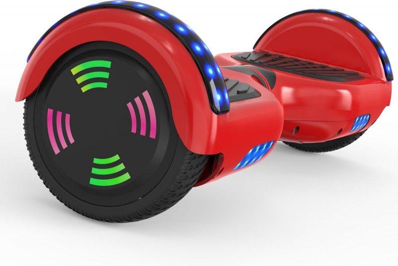 Evercross 6.5 inch Hoverboard met Flits Wielen | Elektrische Zelfbalancerende Scooter | Bluetooth Speaker | Met Afstandsbediening | Inclusief Transporttas | Rood
