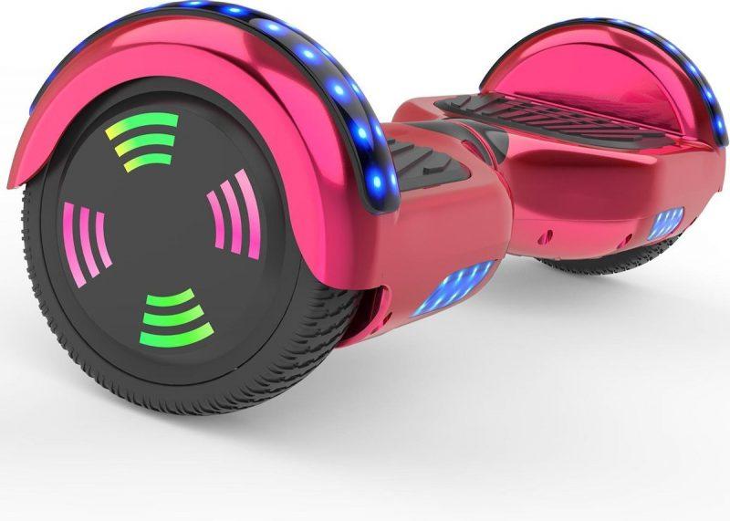 Evercross 6.5 inch Hoverboard met Flits Wielen | Elektrische Zelfbalancerende Scooter | Bluetooth Speaker | Met Afstandsbediening | Inclusief Transporttas | Rood Chroom