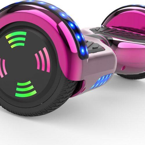 Evercross 6.5 inch Hoverboard met Flits Wielen | Elektrische Zelfbalancerende Scooter | Bluetooth Speaker | Met Afstandsbediening | Inclusief Transporttas | Roze Chroom