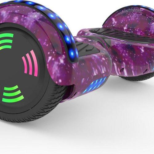 Evercross 6.5 inch Hoverboard met Flits Wielen | Elektrische Zelfbalancerende Scooter | Bluetooth Speaker | Met Afstandsbediening | Inclusief Transporttas | Roze Sterrenhemel