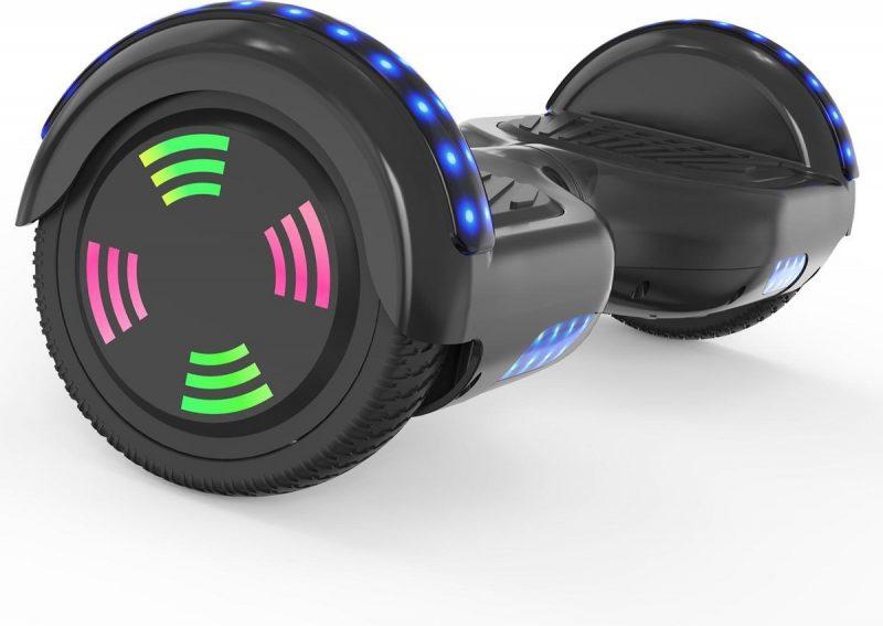 Evercross 6.5 inch Hoverboard met Flits Wielen   Elektrische Zelfbalancerende Scooter   Bluetooth Speaker   Met Afstandsbediening   Inclusief Transporttas   Zwart
