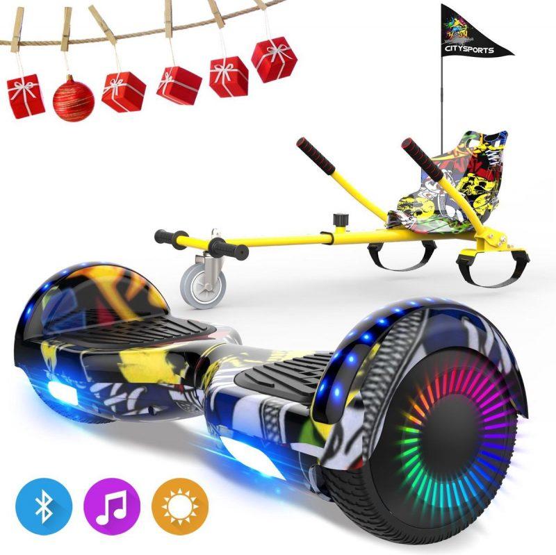 Evercross 6.5 inch Hoverboard met Flits Wielen, Elektrische Zelfbalancerende Scooter + TAOTAO moederbord,Bluetooth Speaker,LED verlichting - Hiphop + Hoverkart Hiphop