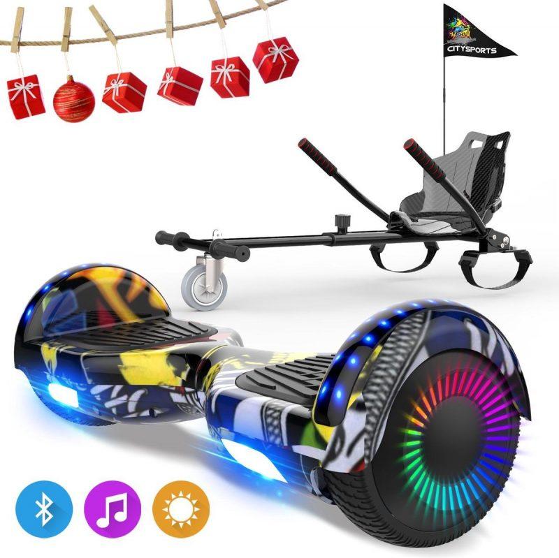 Evercross 6.5 inch Hoverboard met Flits Wielen, Elektrische Zelfbalancerende Scooter + TAOTAO moederbord,Bluetooth Speaker,LED verlichting - Hiphop + Hoverkart Koolzwart