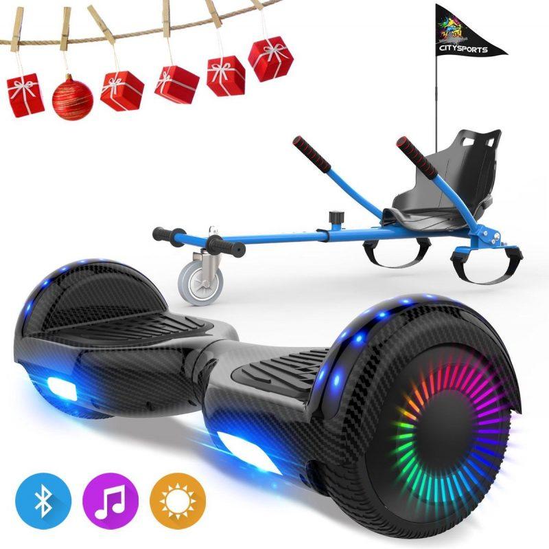 Evercross 6.5 inch Hoverboard met Flits Wielen, Elektrische Zelfbalancerende Scooter + TAOTAO moederbord,Bluetooth Speaker,LED verlichting - Koolzwart + Hoverkart Blauw