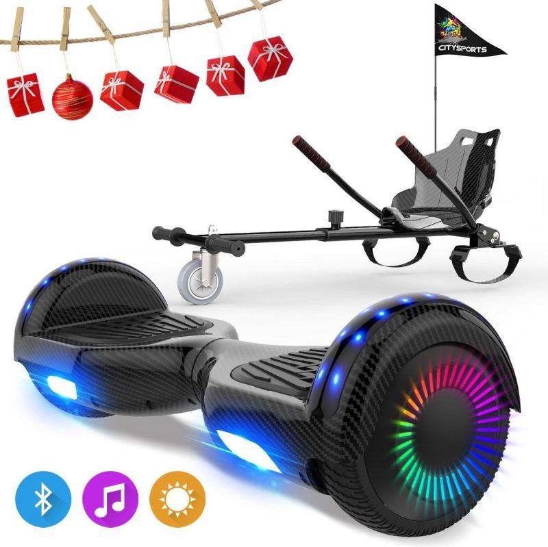 Evercross 6.5 inch Hoverboard met Flits Wielen, Elektrische Zelfbalancerende Scooter + TAOTAO moederbord,Bluetooth Speaker,LED verlichting - Koolzwart + Hoverkart Koolzwart