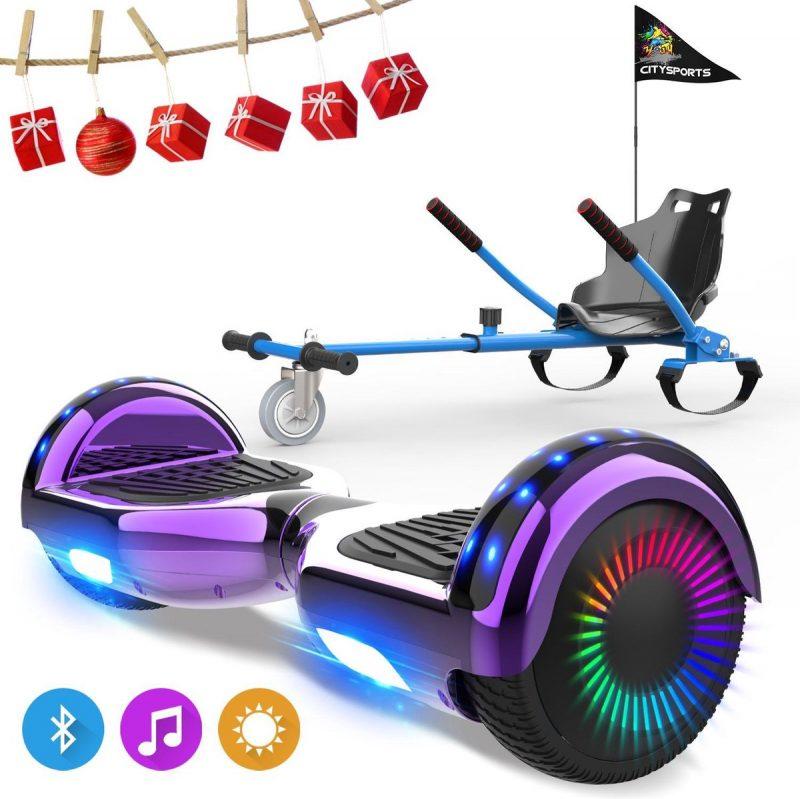 Evercross 6.5 inch Hoverboard met Flits Wielen, Elektrische Zelfbalancerende Scooter + TAOTAO moederbord,Bluetooth Speaker,LED verlichting - Paars Chroom + Hoverkart Blauw