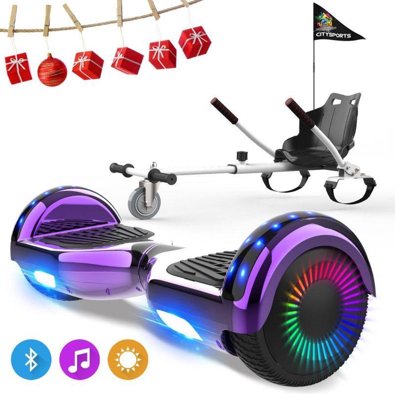Evercross 6.5 inch Hoverboard met Flits Wielen, Elektrische Zelfbalancerende Scooter + TAOTAO moederbord,Bluetooth Speaker,LED verlichting - Paars Chroom + Hoverkart Wit