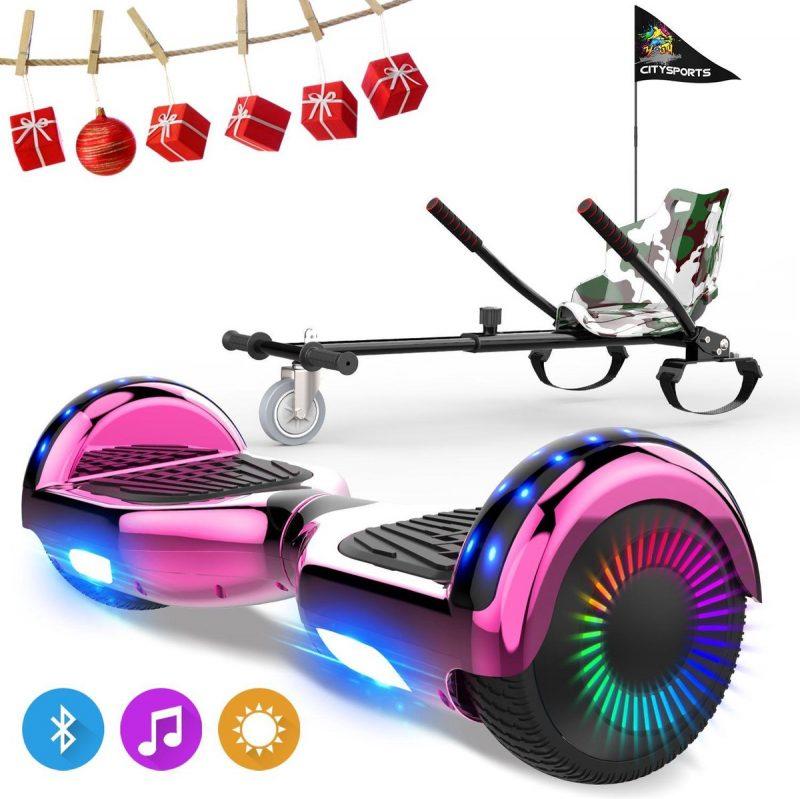 Evercross 6.5 inch Hoverboard met Flits Wielen, Elektrische Zelfbalancerende Scooter + TAOTAO moederbord,Bluetooth Speaker,LED verlichting - Roze Chroom + Hoverkart Camouflage