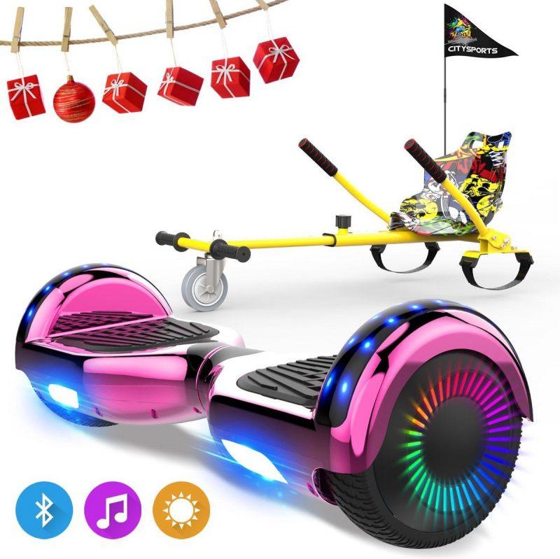 Evercross 6.5 inch Hoverboard met Flits Wielen, Elektrische Zelfbalancerende Scooter + TAOTAO moederbord,Bluetooth Speaker,LED verlichting - Roze Chroom + Hoverkart Hiphop