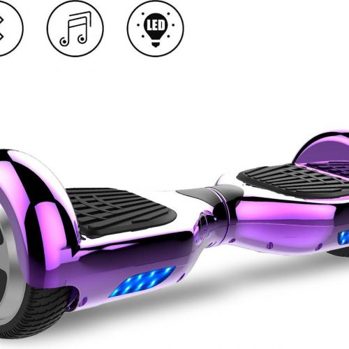 Evercross Self Balancing Smart Hoverboard Balance Scooter 6.5 inch/ V.5 Bluetooth speakers/ LED Verlichting /speciaal ontwerp - Paars Chroom