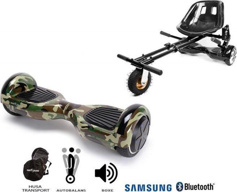Pakket Smart Balance Hoverboard 6.5 inch, Regular Camouflage + HoverKart met Schorsingen, Motor 700 Wat, Bluetooth, LED