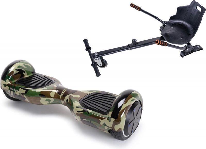 Pakket Smart Balance Hoverboard 6.5 inch, Regular Camouflage met HoverKart, Motor 700 Wat, Bluetooth, LED