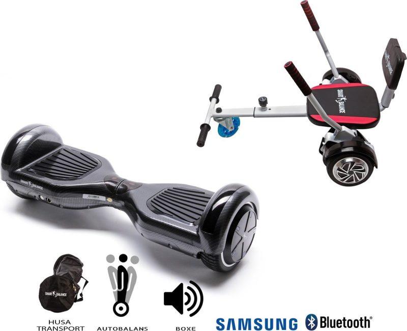 Pakket Smart Balance Hoverboard 6.5 inch, Regular Carbon + HoverKart met Spons, Motor 700 Wat, Bluetooth, LED