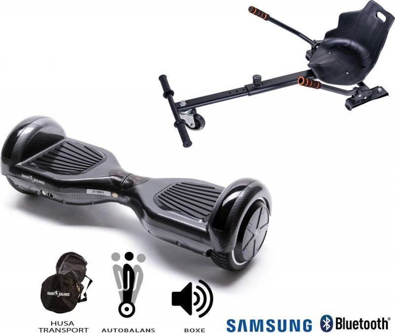 Pakket Smart Balance Hoverboard 6.5 inch, Regular Carbon met HoverKart, Motor 700 Wat, Bluetooth, LED
