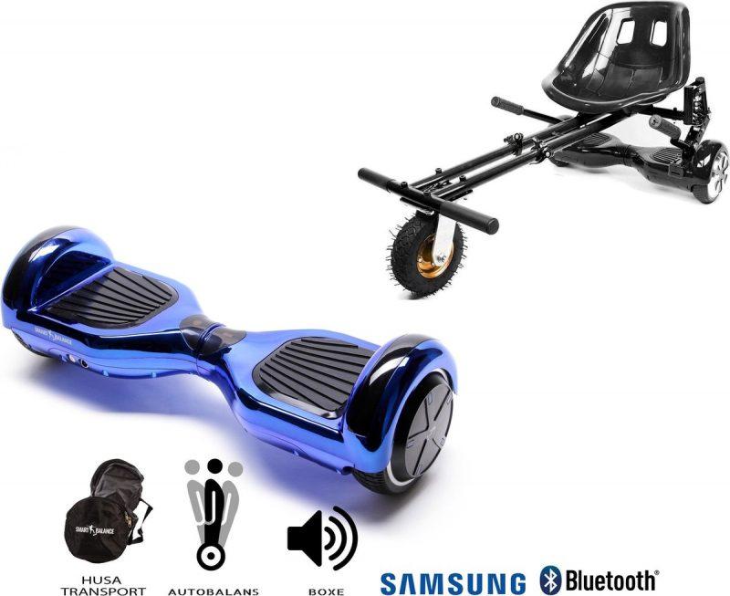 Pakket Smart Balance Hoverboard 6.5 inch, Regular ElectroBlue + HoverKart met Schorsingen, Motor 700 Wat, Bluetooth, LED