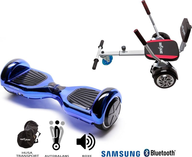 Pakket Smart Balance Hoverboard 6.5 inch, Regular ElectroBlue + HoverKart met Spons, Motor 700 Wat, Bluetooth, LED