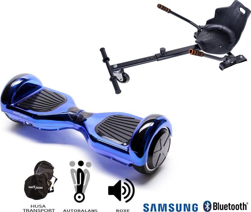 Pakket Smart Balance Hoverboard 6.5 inch, Regular ElectroBlue met HoverKart, Motor 700 Wat, Bluetooth, LED