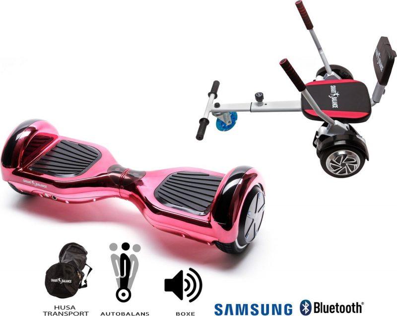 Pakket Smart Balance Hoverboard 6.5 inch, Regular ElectroPink + HoverKart met Spons, Motor 700 Wat, Bluetooth, LED