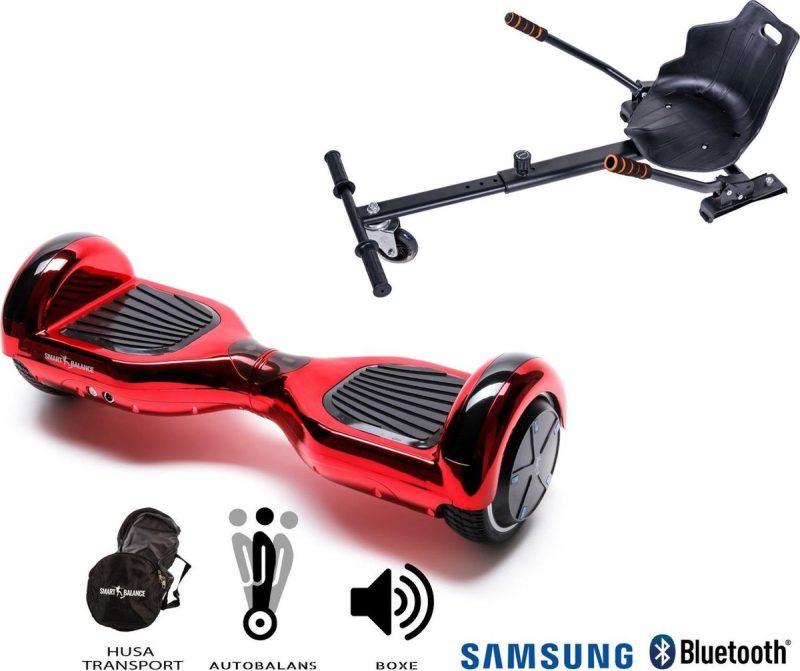 Pakket Smart Balance Hoverboard 6.5 inch, Regular ElectroRed met HoverKart, Motor 700 Wat, Bluetooth, LED