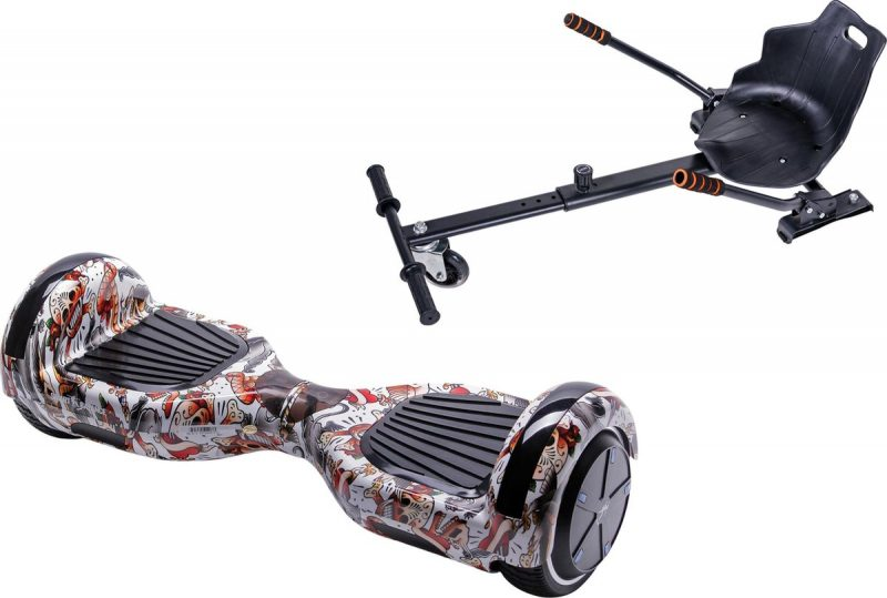 Pakket Smart Balance Hoverboard 6.5 inch, Regular Tattoo met HoverKart, Motor 700 Wat, Bluetooth, LED