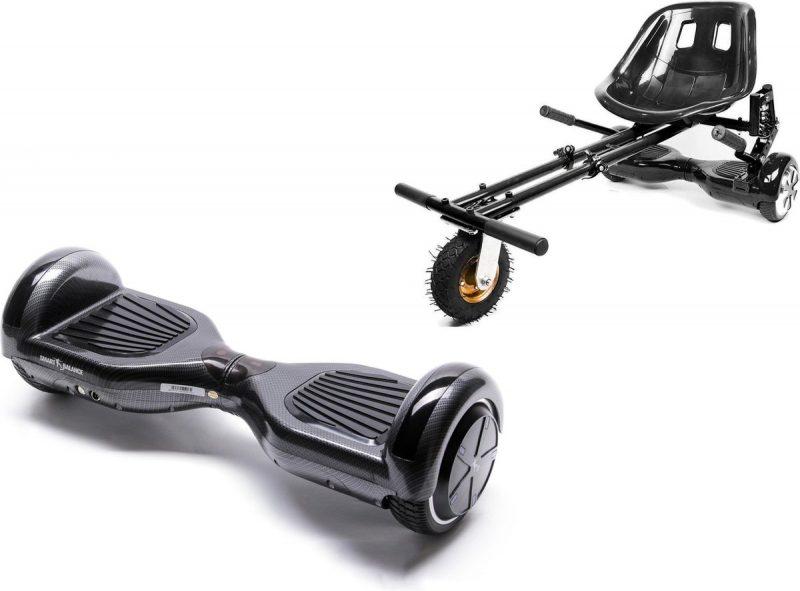 Pakket Smart Balance Hoverboard 6,5 inch, Regular Carbon + HoverKart met ophangingen, Motor 700 Wat, Bluetooth, LED