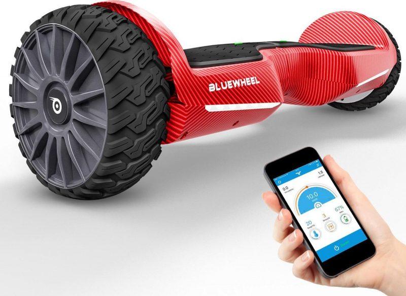 BLUEWHEEL app-compatibel hoverboard off-road + Bluetooth luidspreker & LED Licht | Exclusief velgen design | Self Balance Board + veiligheidsmodus voor kinderen | Premium accu & Dual Power Motor | HX380
