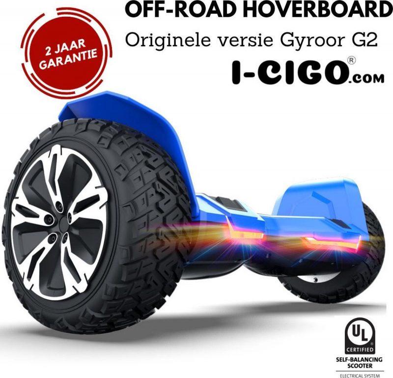 I-CIGO - Originele Gyroor G2- Off-road hoverboard 8.5inch- UL 2272 hoogste niveau veiligheidskeuringscertificaat - uniek App funcite - Bluetooth speakers-Blauw
