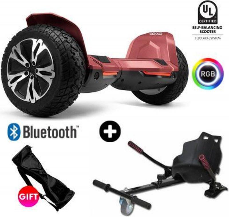 Gyroor G2   Hoverboard met Hoverkart  8.5 Inch Wielen   Oxboard   Elektrische Step Alternatief   Rood