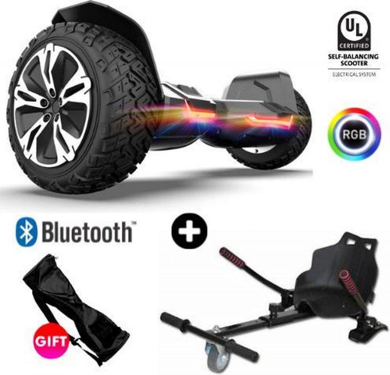 Hoverboard | GYROOR | Off-Road Hoverboard met Hoverkart | 8.5 Inch wielen | Self Balance Hoverboard | Bluetooth Speakers | Oxboard | Zwart