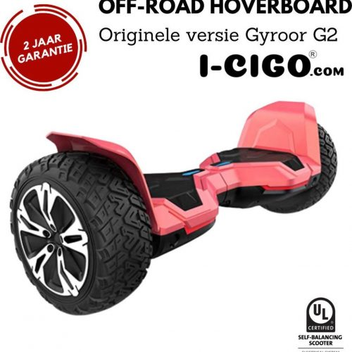 I-CIGO - Originele Gyroor G2- Off-road hoverboard 8.5inch- UL 2272 hoogste niveau veiligheidskeuringscertificaat - uniek App funcite - Bluetooth speakers.-Mat rood