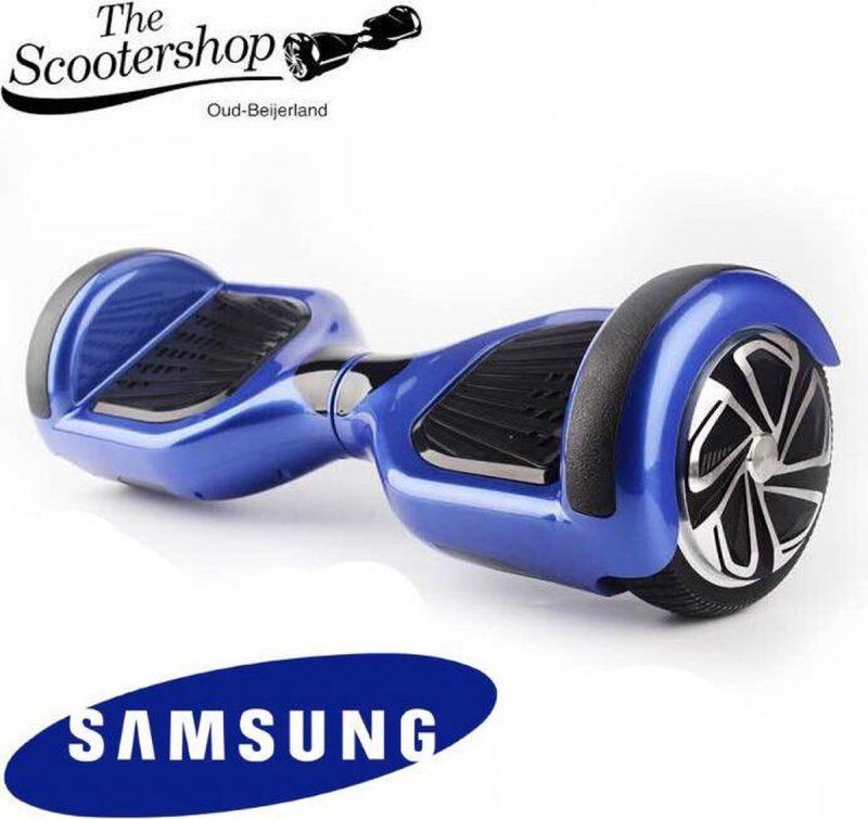 The SCOOTERSHOP Hoverboard Blauw, TAOTAO, SAMSUNG, Led verlichting, Aluminium Design velgen, Rubberen bumpers