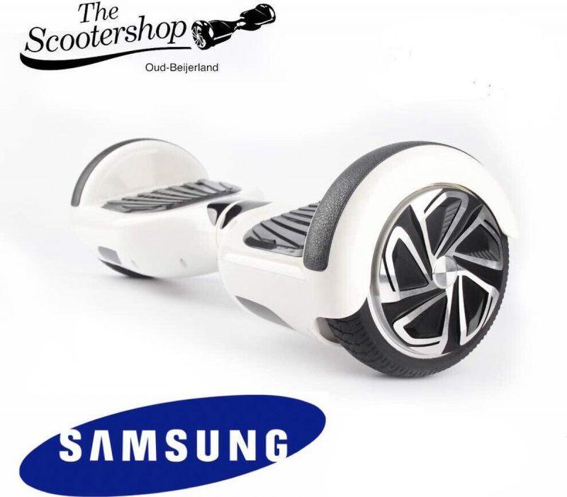 The SCOOTERSHOP Hoverboard WIT, TAOTAO, SAMSUNG, Led verlichting, Aluminium Design velgen, Rubberen bumpers