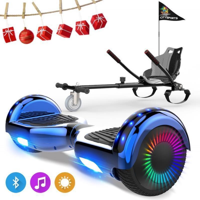 Evercross 6.5 inch Hoverboard met Flits Wielen, Elektrische Zelfbalancerende Scooter + TAOTAO moederbord,Bluetooth Speaker,LED verlichting - Blauw Chroom + Hoverkart Koolzwart