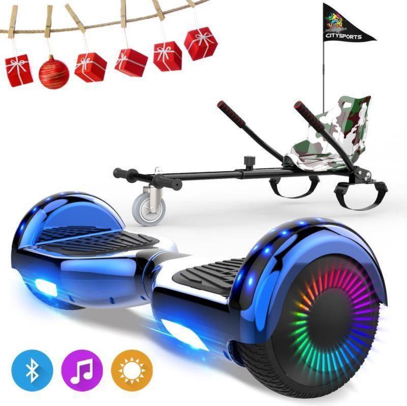Evercross 6.5 inch Hoverboard met Flits Wielen, Elektrische Zelfbalancerende Scooter + TAOTAO moederbord,Bluetooth Speaker,LED verlichting - Blauw Chroom + Hoverkart Camouflage