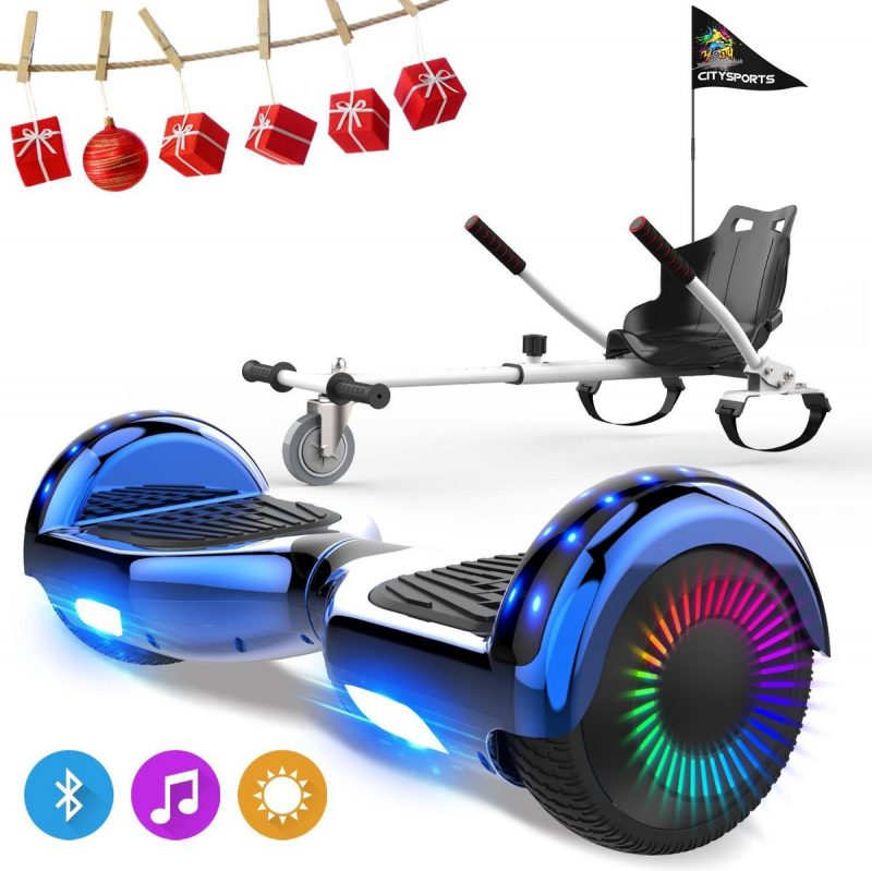 Evercross 6.5 inch Hoverboard met Flits Wielen, Elektrische Zelfbalancerende Scooter + TAOTAO moederbord,Bluetooth Speaker,LED verlichting - Blauw Chroom + Hoverkart Wit