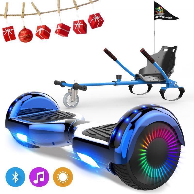 Evercross 6.5 inch Hoverboard met Flits Wielen, Elektrische Zelfbalancerende Scooter + TAOTAO moederbord,Bluetooth Speaker,LED verlichting - Blauw Chroom + Hoverkart Blauw