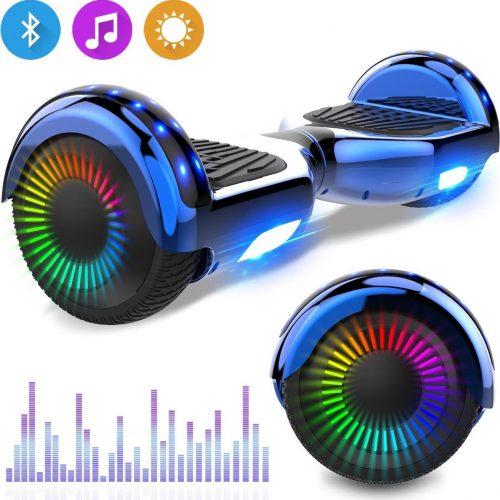 Evercross 6.5 inch Hoverboard met Flits Wielen, Elektrische Zelfbalancerende Scooter + TAOTAO moederbord,Bluetooth Speaker,LED verlichting - Blauw Chroom