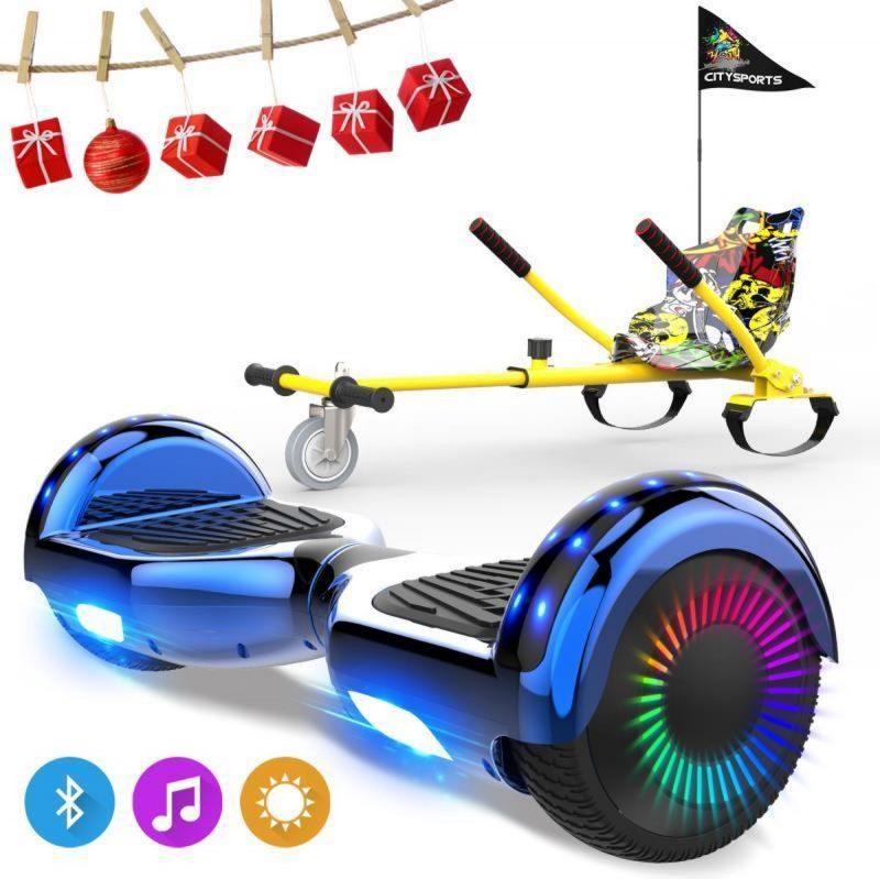 Evercross 6.5 inch Hoverboard met Flits Wielen, Elektrische Zelfbalancerende Scooter + TAOTAO moederbord,Bluetooth Speaker,LED verlichting - Blauw Chroom + Hoverkart Hiphop
