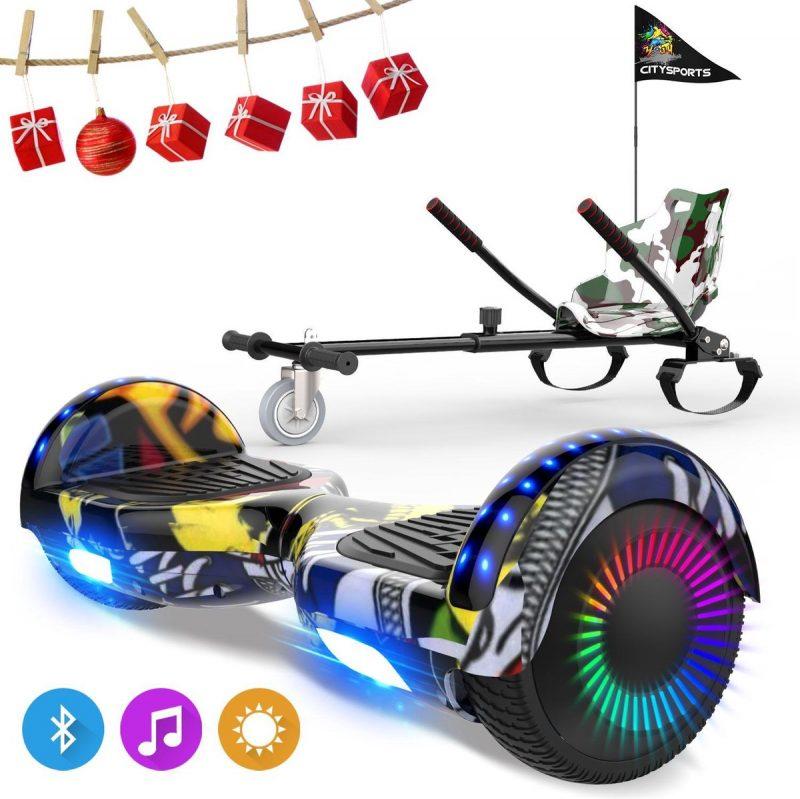 Evercross 6.5 inch Hoverboard met Flits Wielen, Elektrische Zelfbalancerende Scooter + TAOTAO moederbord,Bluetooth Speaker,LED verlichting - Hiphop + Hoverkart Camouflage
