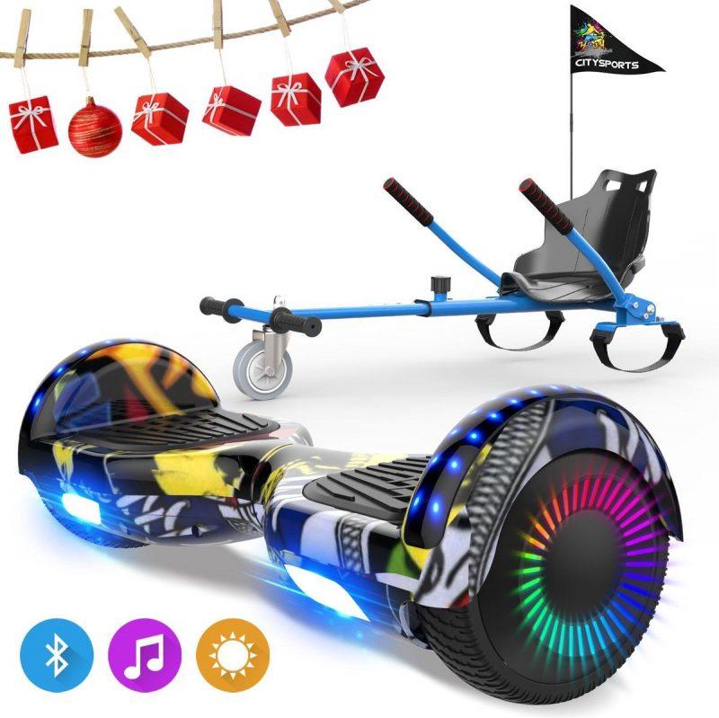 Evercross 6.5 inch Hoverboard met Flits Wielen, Elektrische Zelfbalancerende Scooter + TAOTAO moederbord,Bluetooth Speaker,LED verlichting - Hiphop + Hoverkart Blauw